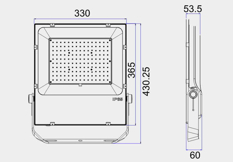 LED FLOOD LIGHT SIZE FOR 150W