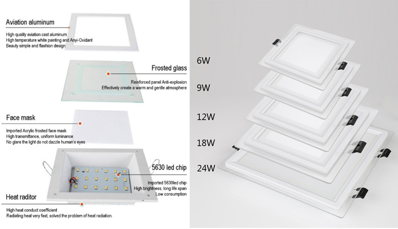 18w LED square downlight