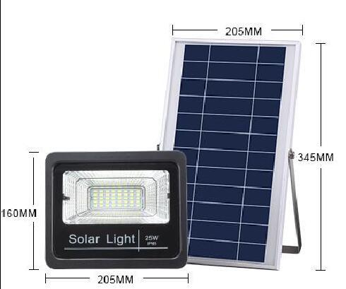 led solar floodlight size drawing